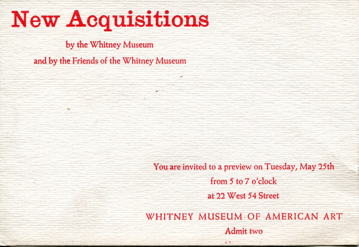 1963 Whitney new aquisitions