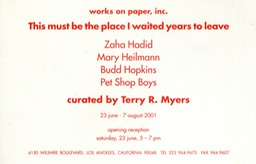 2001 works on paper invite